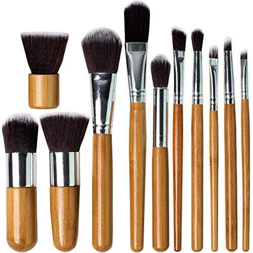 Professional Kabuki Makeup Brushes Set - 11 Pc Wooden Handle Cosmetic Foundation Make up kit Beauty Blending for Powder and Cream - Bronzer Concealer Contour Brush Travel Case - Beauty Bon