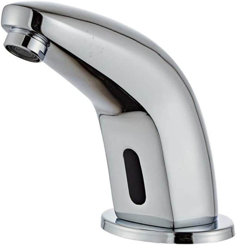 Electronic Automatic Sensor Touchless Bathroom Faucet Chrome Motion Activated Hands-Free Lavatory Vanity Faucet Lead Free Certified Battery or Plug Powered
