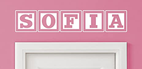 Sofia Baby Block Name Bedroom Closet Door   30 Inch Wide White Wall Vinyl  Decal Decorative