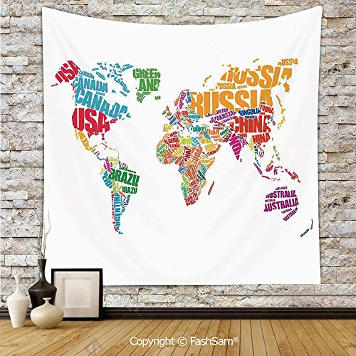 FashSam Polyester Tapestry Wall World Map Made by Names Continents Europe America Africa Asia Graphic Art Decorative Hanging Printed Home Decor(W59xL78) -