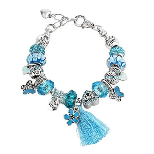 Blue Flower Beaded Charm Bracelets for Teen Girls Women Gifts (Flowers Pattern Charm Bracelet)