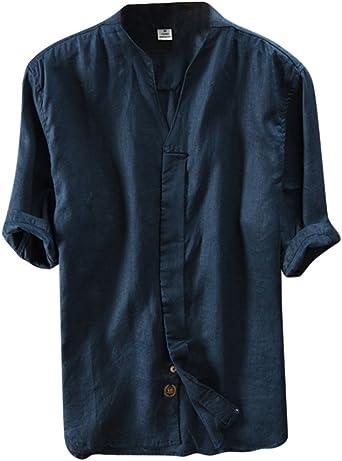 DianShaoA Camisa Hombre Lino Blusa Tops Cuello Mao Casual Camiseta Shirt: Amazon.es: Ropa y accesorios