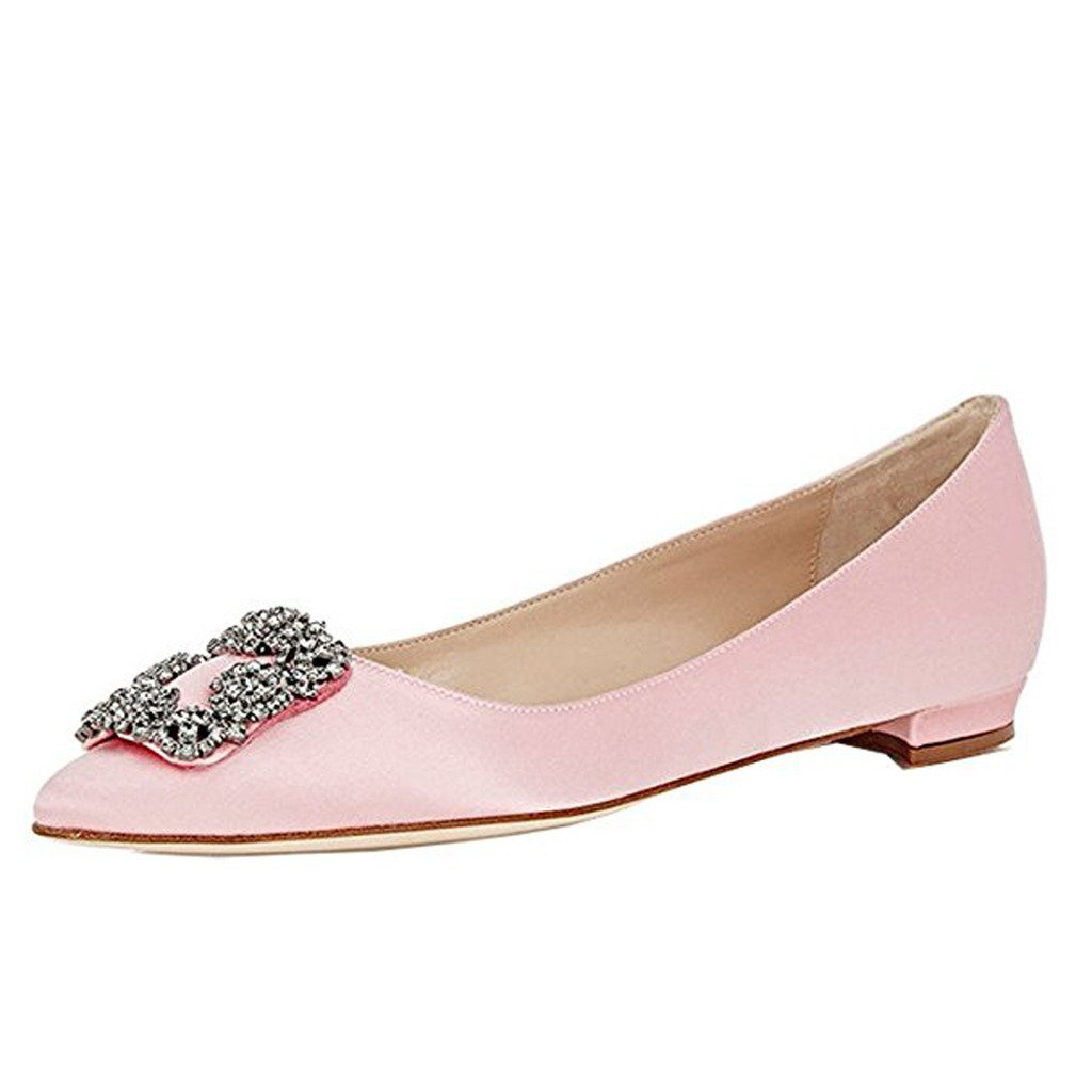 Comfity Women's Jewel-embellished Shoes Pointed Toe Ballet Low Heels Slip On Flats B06Y6961WK 8.5 B(M) US|Light Pink
