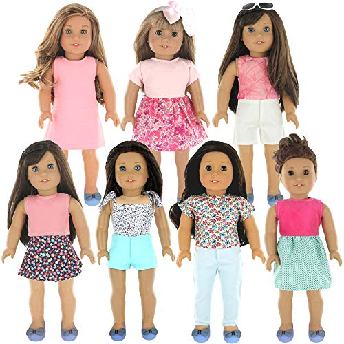PZAS Toys 18 Inch Doll Clothes - Fits American Girl Doll Clothes with Accessories- Wardrobe Makeover, 7 Outfits