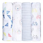 aden + anais Classic Swaddle Baby Blanket, 100% Cotton Muslin, Large 47 X 47 inch, 4 Pack, Leader Of The Pack
