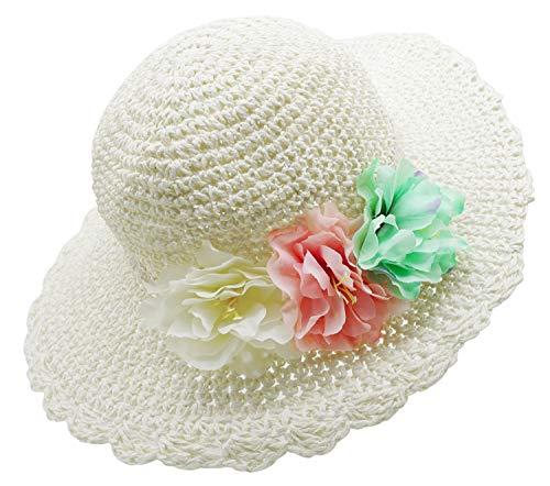 Bienvenu Girl Kids Summer Wide Brim Floppy Beach Sun Visor Hat with Flowers, - Hat Flower Floppy Girl