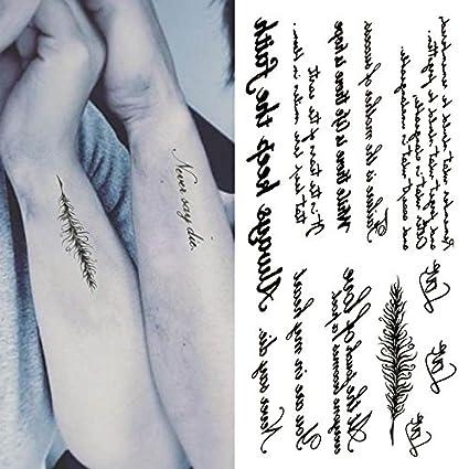 Oottati Pequeño Lindo Tatuaje Temporal Cita De Palabra Inglesa (2 ...
