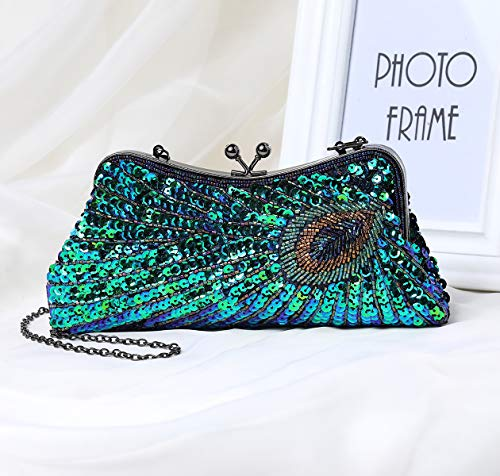 Women Style for 1920s Bag Beaded Wedding 1 Clutch Party Roaring Handbag Peacock Flapper Accessories Bag Sequin 20s Costume Evening Coucoland Gatsby Clutch Glitter Clutch fnxBfqv