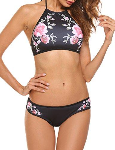 - Ekouaer Womens Forest Leaves Printing High Neck Halter Bikini Set Swimsuit (Black Floral_75, XXL)