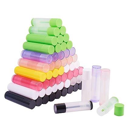 Pandahall elite 90 piezas botella vacía de tubo de plástico Labios titolare con tapones, color