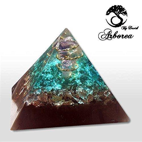 XL Orgone Pyramid, Orgonite ® Reiki charged, Atlantis, ArboreaCrystals Design, Amethyst 22kt gold Orgonite pyramid, orgone generator by ArboreaCrystals Orgone