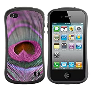 Suave TPU GEL Carcasa Funda Silicona Blando Estuche Caso de protección (para) Apple Iphone 4 / 4S / CECELL Phone case / / Feather Bird Purple Peace Pattern /