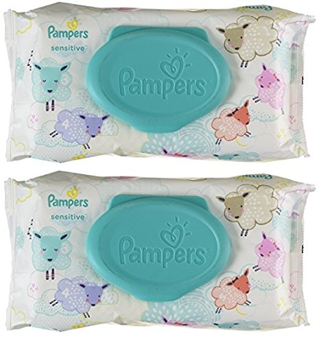 Pampers Sensitive Water Baby Wipes 2X Pop-Top Pack, 56 Count (112 Total Count) by Pampers