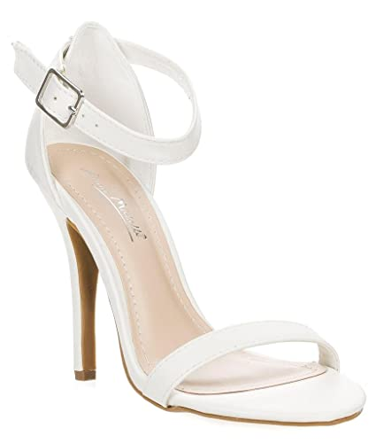 c771abb9a537f4 Anne Michelle Enzo-01N Ankle Strap Open Toe Stiletto High Heel Dress Sandal  …