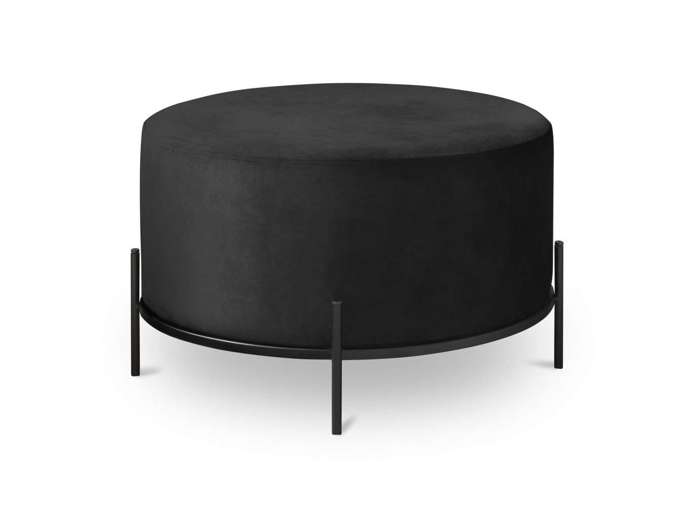 Lifa Living Round Velvet Ottoman Footstool Coffee Side Table Modern Upholstered Dressing Chair For Living Room Bedroom Office Black Metal Frame