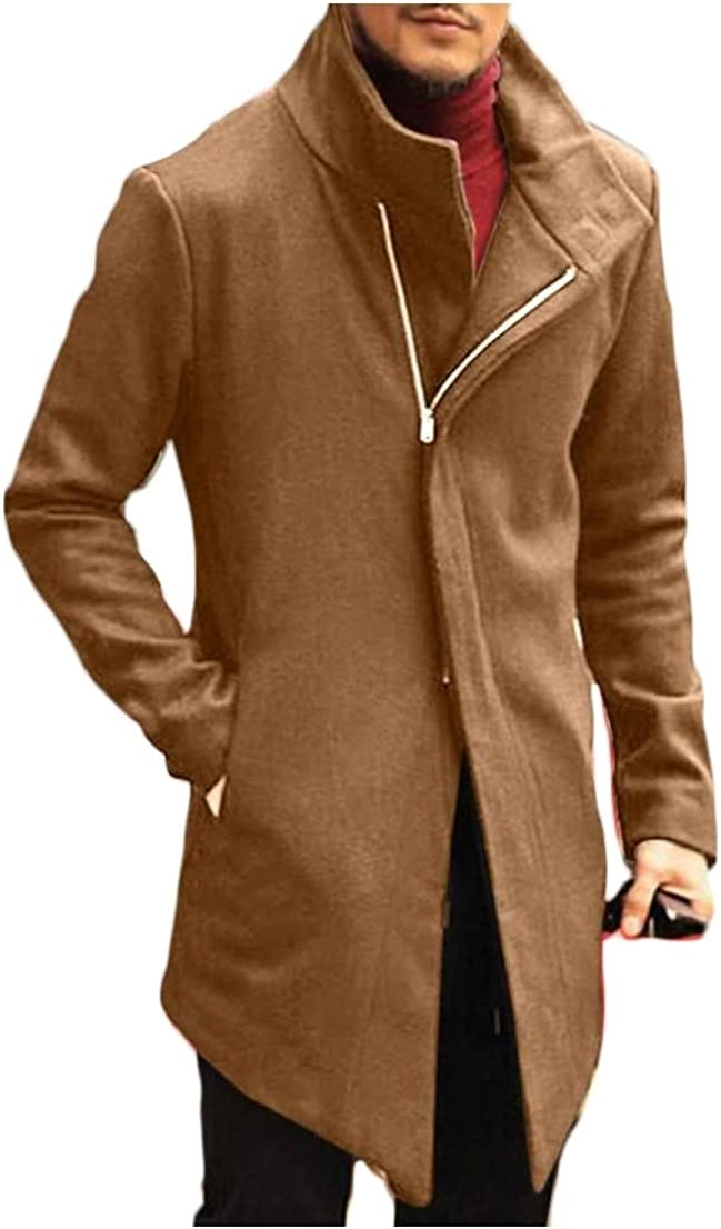 Generic Mens Fashion Long Sleeve Slim Fit Solid Zip up Trench Coat Khaki XS