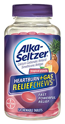 - Alka-Seltzer Heartburn + Gas ReliefChews - relief of heartburn, gas, acid indigestion, and sour stomach - tropical punch flavors - 54 Count
