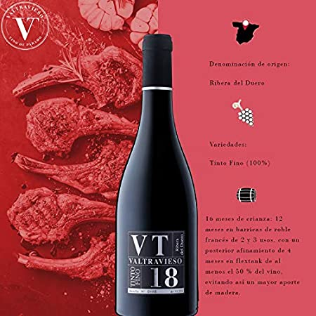 Lote Vino de 2 botellas - Valtravieso | VT Vendimia Seleccionda Tinto Fino, Cabernet Sauvinon y Merlot Vino Tinto DO Ribera del Duero.