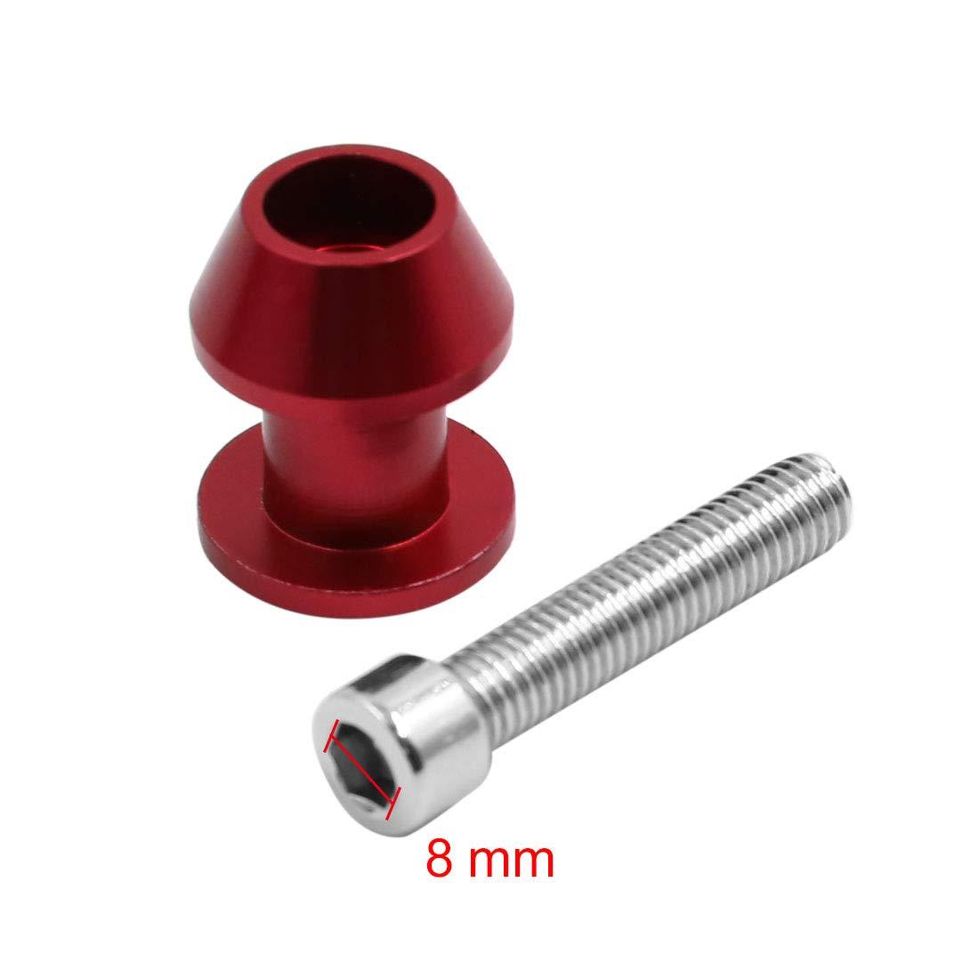 sourcing map 2pc 8mm Bras oscillant Aluminium Rouge Curseur tiroir canettes Stand Moto pour