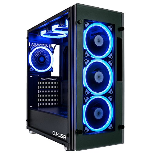 CUK Stratos Full ATX Tower Gaming Desktop Case with 7 RGB Halo Fans, LED Lighting + Tempered Glass Windows
