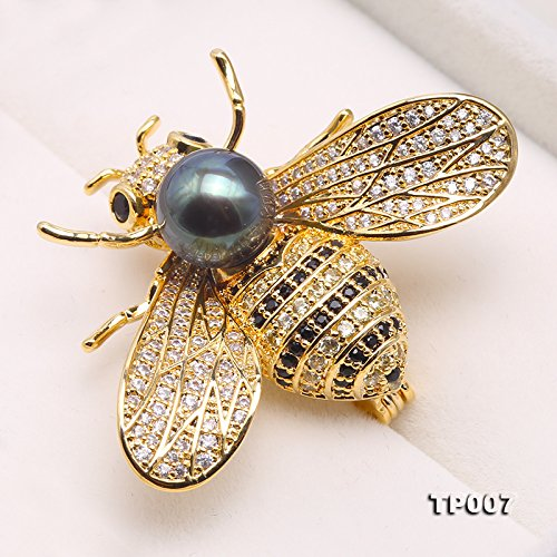 JYX Fine 9mm Tahitian Southsea Cultured Pearl Brooch Pin Pendant Bee-style by JYX Pearl (Image #2)