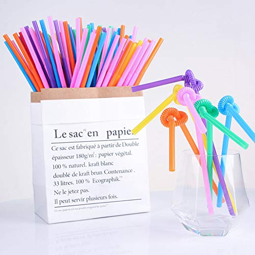 HANSGO Disposable Drinking Straws, 100PCS Colorful Flexible Straws Extra Long Straws Party Decorations