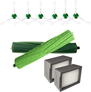 Yliquor Replacement Accessories Kit Side Brush&Hepa Filters&Bristle Brush Compatible for iRobot Roomba i7 i7 /i7 Plus E5 E6 E7 Series Vacuum Cleaners Accessories