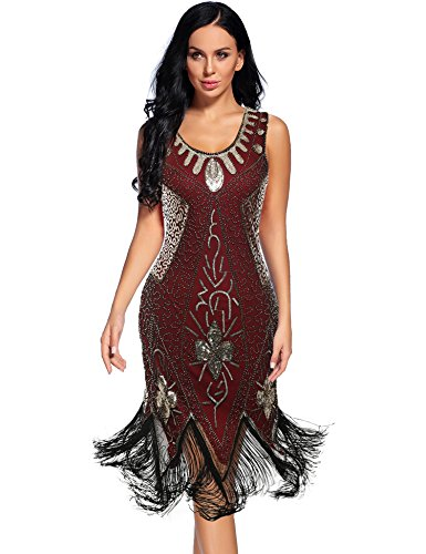Women's Flapper Dress 1920s Cocktail Fringed Great Gatsby -