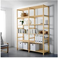 Ikea 2 section shelving unit, pine, 68 1/2x19 5/8x89  , 183834.292617.1814