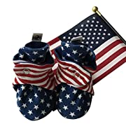 bume baby American Flag USA Organic Cotton Booties (O-3 Months)