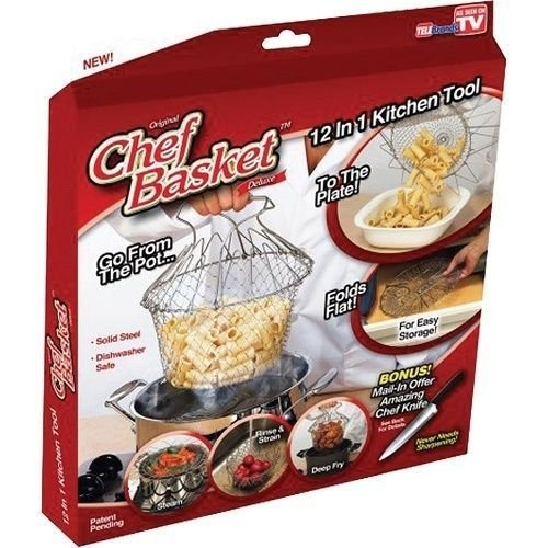 Original Genuine Chef Basket 12 in 1 Cooks Tool Strainer Steamer Drainer -NEW!