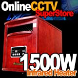 New Diva Tranquility 1500 Watts Vintage Style Infrared Portable Space Heater with Remote Control - Cherrywood Case