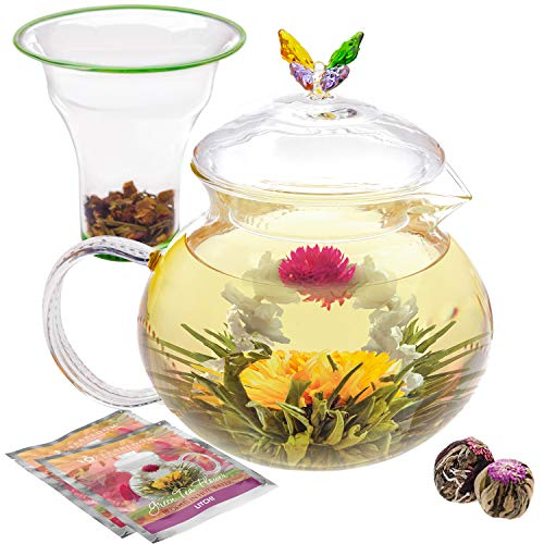 Teabloom Wings of Love Teapot - 40 oz. Borosilicate Glass Butterfly Teapot, Loose Leaf Tea Glass Infuser - 2 Free Blooming Tea Flowers Included ()