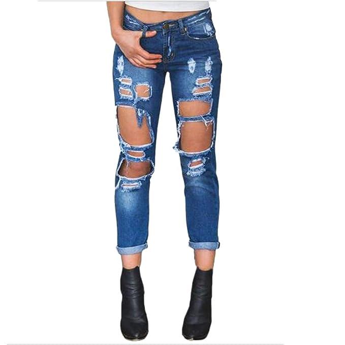 9ddf35cba0 TieNew Mujer Jeans Skinny Pantalones Rotos Flacos Vaqueros Azul Cintura