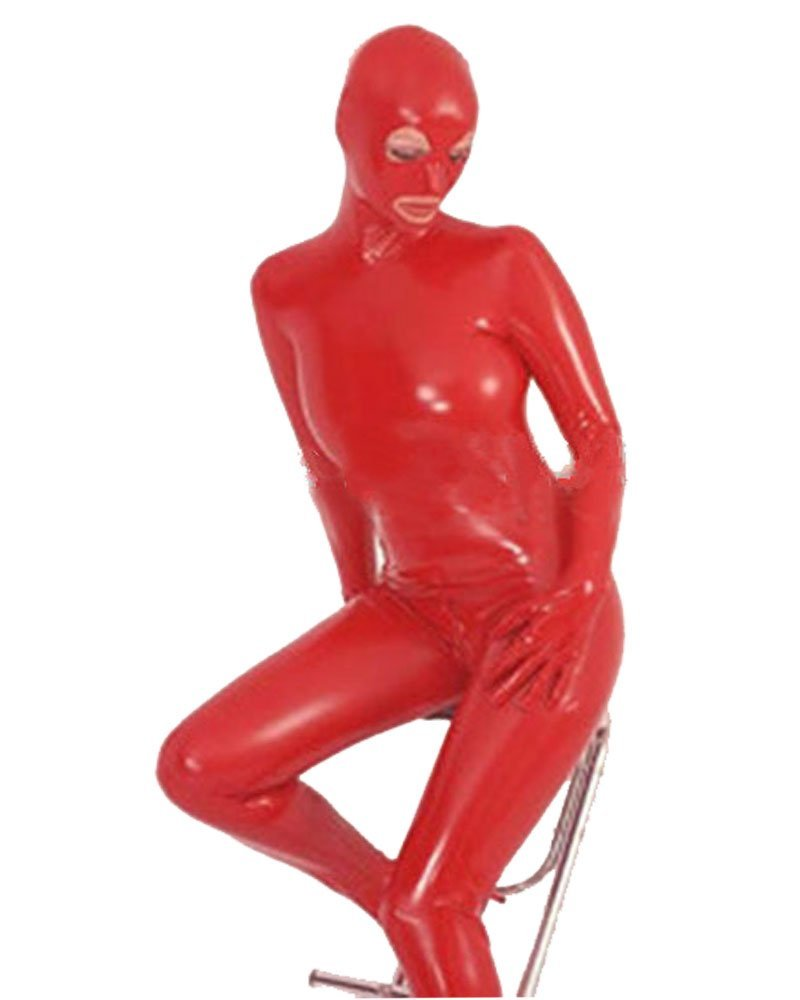 Fashion Queen Women's Shiny Metallic Zentai Catsuit Fullbody Unitard Performance Costume With Eyes Mouth Open (One Size, Red)