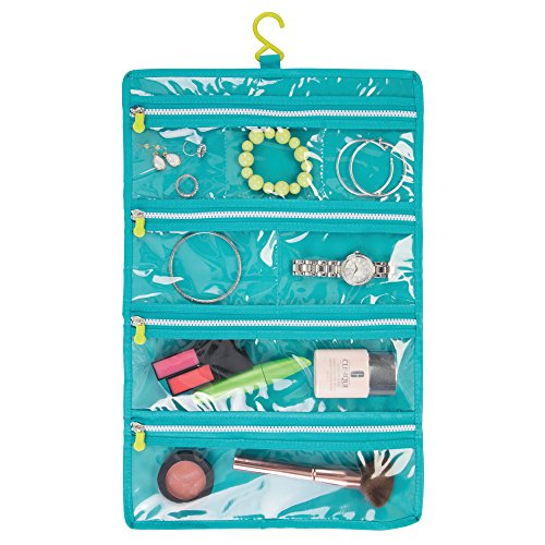 mDesign Travel Roll Up Makeup Jewelry Organizer Bag: Elastic Closure, Hanging Hook and 7 Zippered Pockets: Perfect for Packing Luggage/Suitcase and Carry-On – Gray/Teal Blue/Lime Green