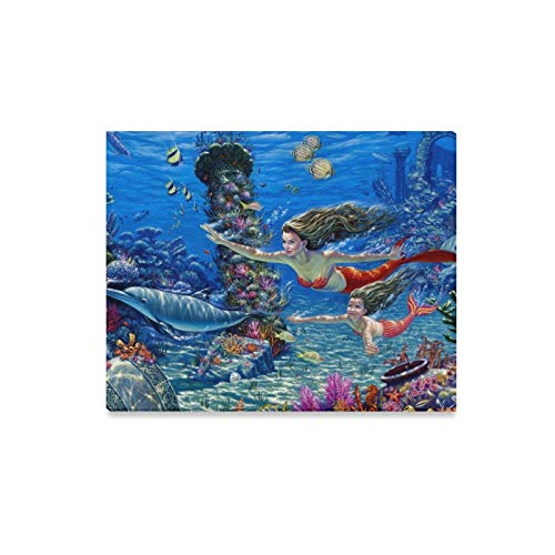 (Wall Art Painting Mermaid Kingdom Syreny Delfin Wallpaper Nevse Prints On Canvas The Picture Landscape Pictures Oil for Home Modern Decoration Print Decor for Living Room)