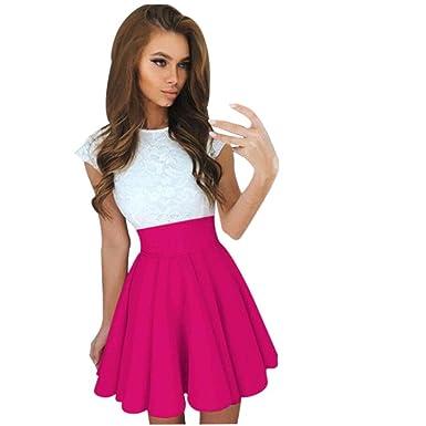 6bd5e0f86733 YOUBan Damen Minikleider Kurzarm Kleid Skater Kleid Spitze Party  Cocktailkleider Mädchen Mode Kleid Lange Maxi Kleid