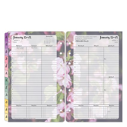 Compact Blooms Weekly Ring-bound Planner - Jan 2018 - Dec 2018