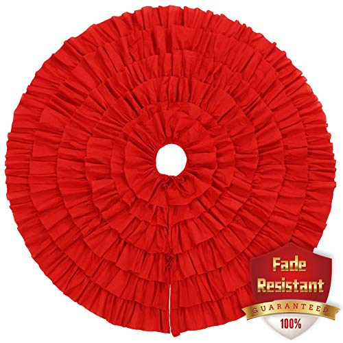 Ivenf 48 inch Large Red Fleece 6-Layer Ruffled Christmas Tree Skirt, Rustic Xmas Tree Holiday Decorations
