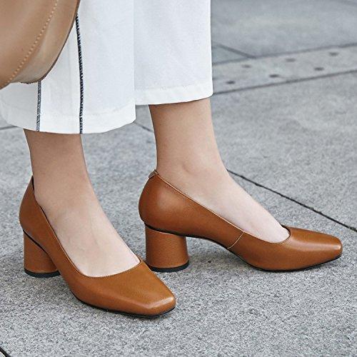 superficial 37 boca de Moda tacon cabeza mujer de color elegante alto Cuarenta zapatos cuadrada Solo Sandalias Zapatos caramelo zapato AJUNR 6 Transpirable cm 7xB4PAfwqf