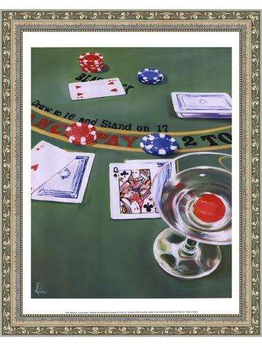 - Poster Palooza Framed Blackjack- 11.75x15.75 Inches - Art Print (Ornate Silver Frame)