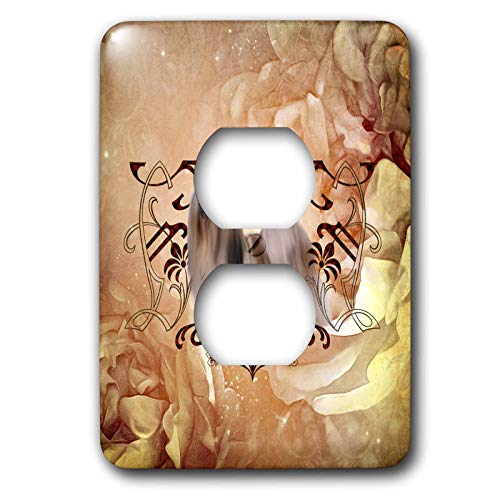 (3dRose Heike Köhnen Design Animal - Beautiful lhasa apso with floral elements - Light Switch Covers - 2 plug outlet cover)