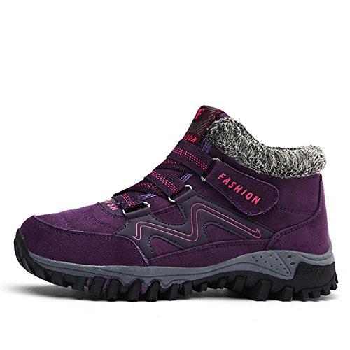 Gracosy Alta Cima Sneaker, Donne Inverno Caldo Gancio Scarpe Da Neve Fodera In Pelliccia Stivali Casual Stivaletti Alla Caviglia Viola