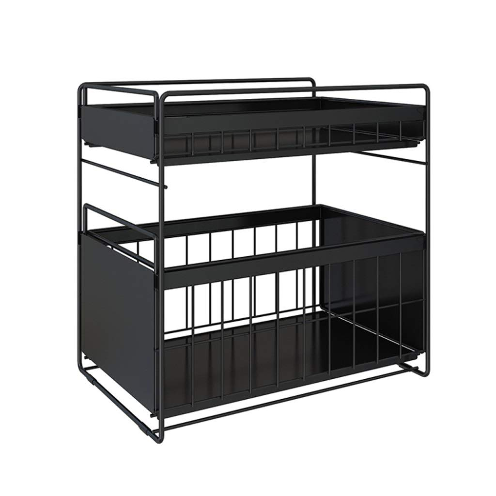 ASIERY Double Drawer Type Floor Rack Corner Rack (Color : Black, Size : L) by ASIERY