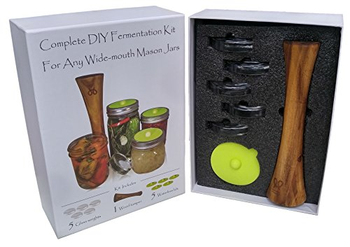 Canning kit.Complete DIY fermentation kit for wide mouth mason jars or pickling jars. 5 glass weights, 1 tamper, 5 airlock lids. Make Sauerkraut, Kimchi, Pickles or any fermented food.Premium (2 Piece Acacia Silicone)