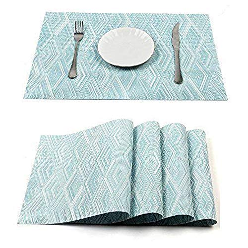 HEBE Placemats Set of 6 Washable Woven Vinyl Placemats for Dining Table Heat Resistant Kitchen Table Mats Eat Meal Mat Easy to Clean(Blue, 6)