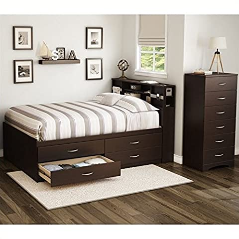 South Shore Back Bay 3 Piece Full Captains Bedroom Set in Chocolate - Above Storage Bed Sets