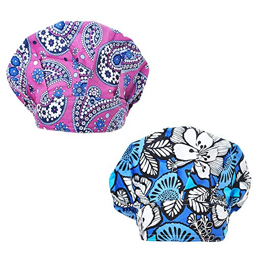 Opromo Cotton Bleach Friendly Banded Adjustable Scrub Cap Sweatband Bouffant Hat-Assorted 1