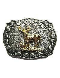 Original Western Cowboy Rodeo Deer Double Color Belt Buckle also Stock in US